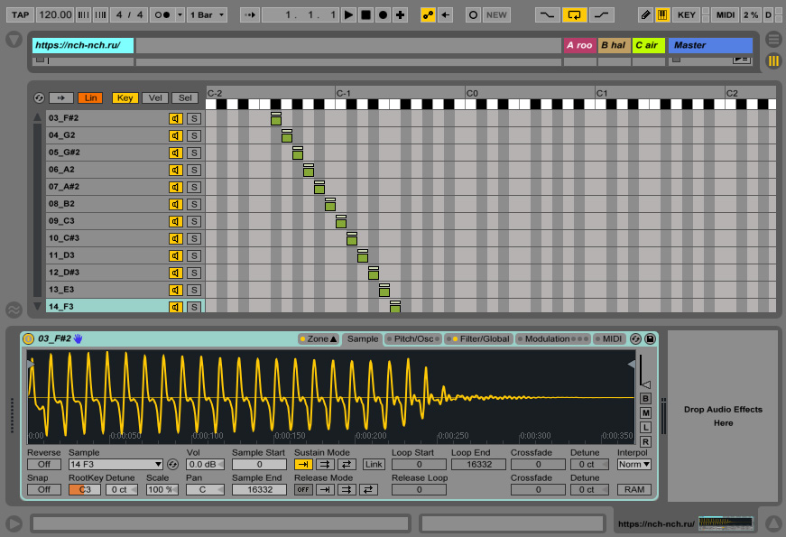 вкладка zone Sampler Ableton Live