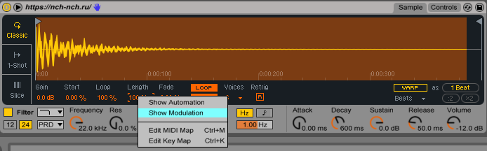 length modulation in simpler ableton live